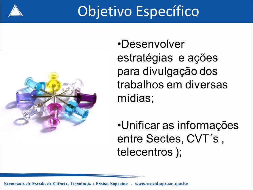 Objetivo Específico Desenvolver estratégias e ações para divulgação dos trabalhos em diversas mídias; Unificar as informações entre Sectes, CVT´s, telecentros );