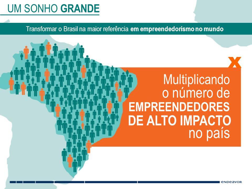UM SONHO GRANDE Transformar o Brasil na maior referência em empreendedorismo no mundo Multiplicando o número de EMPREENDEDORES DE ALTO IMPACTO no país x