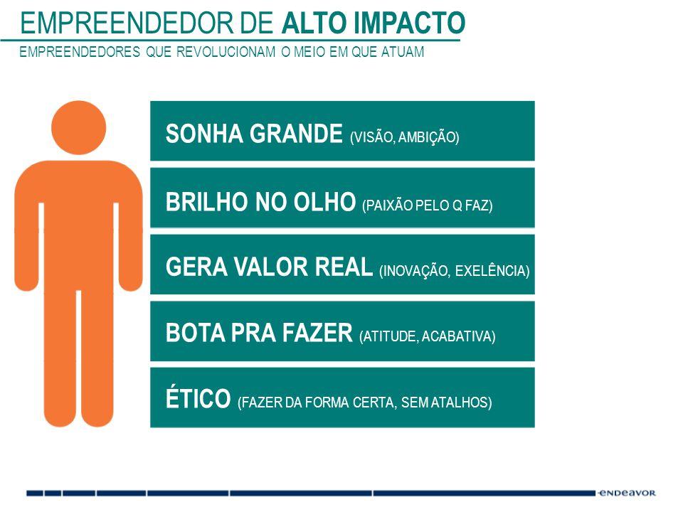 EMPREENDEDOR DE ALTO IMPACTO EMPREENDEDORES QUE REVOLUCIONAM O MEIO EM QUE ATUAM SONHA GRANDE (VISÃO, AMBIÇÃO) BRILHO NO OLHO (PAIXÃO PELO Q FAZ) GERA VALOR REAL (INOVAÇÃO, EXELÊNCIA) BOTA PRA FAZER (ATITUDE, ACABATIVA) ÉTICO (FAZER DA FORMA CERTA, SEM ATALHOS)