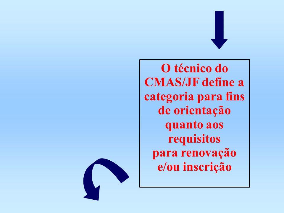 O técnico do CMAS/JF define a categoria para fins de orientação quanto aos requisitos para renovação e/ou inscrição