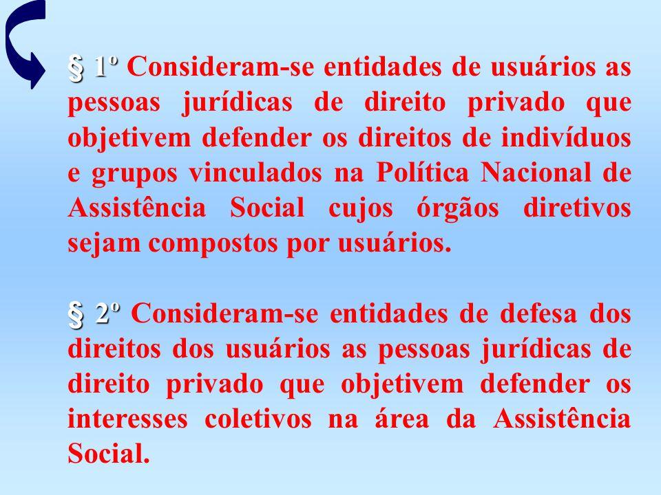 § 1º § 1º Consideram-se entidades de usuários as pessoas jurídicas de direito privado que objetivem defender os direitos de indivíduos e grupos vincul