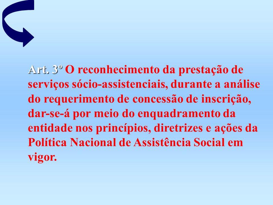 Art. 3º Art. 3º O reconhecimento da prestação de serviços sócio-assistenciais, durante a análise do requerimento de concessão de inscrição, dar-se-á p