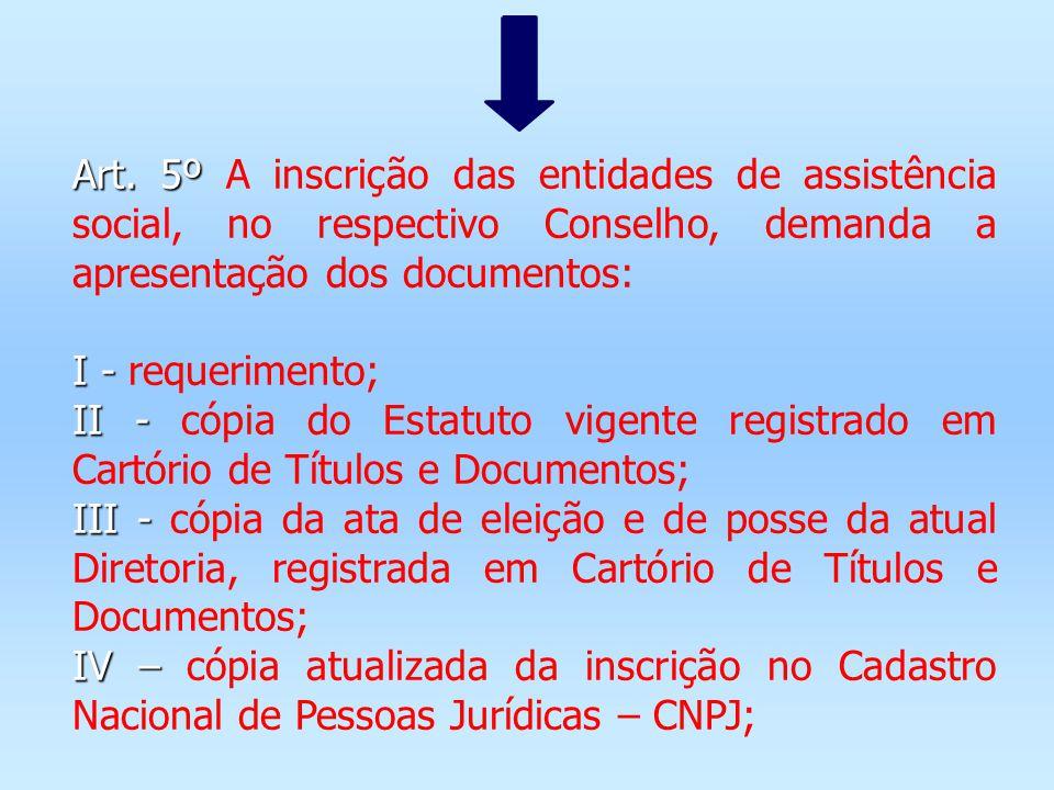 Art. 5º Art. 5º A inscrição das entidades de assistência social, no respectivo Conselho, demanda a apresentação dos documentos: I - I - requerimento;
