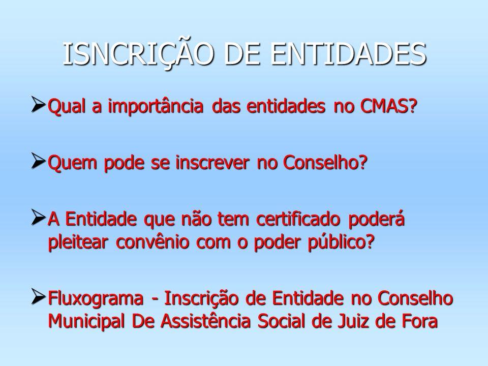 Qual a importância das entidades no CMAS? Qual a importância das entidades no CMAS? Quem pode se inscrever no Conselho? Quem pode se inscrever no Cons
