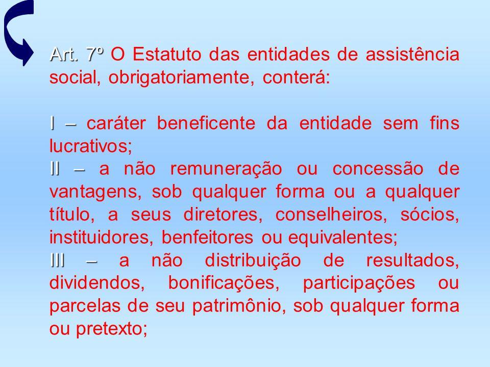 Art. 7º Art. 7º O Estatuto das entidades de assistência social, obrigatoriamente, conterá: I – I – caráter beneficente da entidade sem fins lucrativos