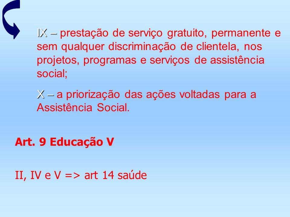 IX – IX – prestação de serviço gratuito, permanente e sem qualquer discriminação de clientela, nos projetos, programas e serviços de assistência socia