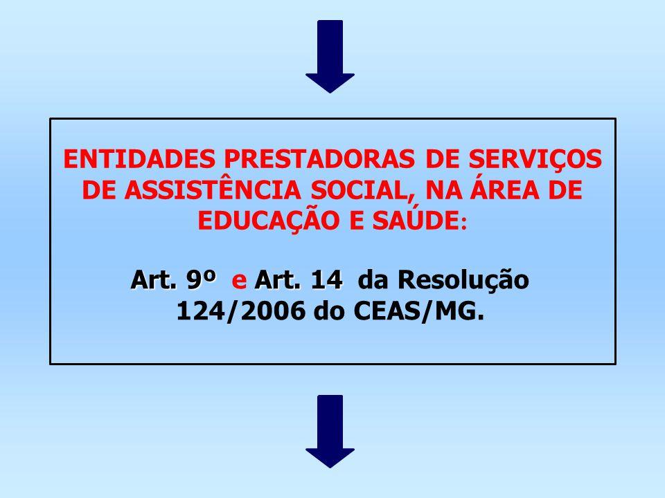 ENTIDADES PRESTADORAS DE SERVIÇOS DE ASSISTÊNCIA SOCIAL, NA ÁREA DE EDUCAÇÃO E SAÚDE : Art. 9ºArt. 14 Art. 9º e Art. 14 da Resolução 124/2006 do CEAS/