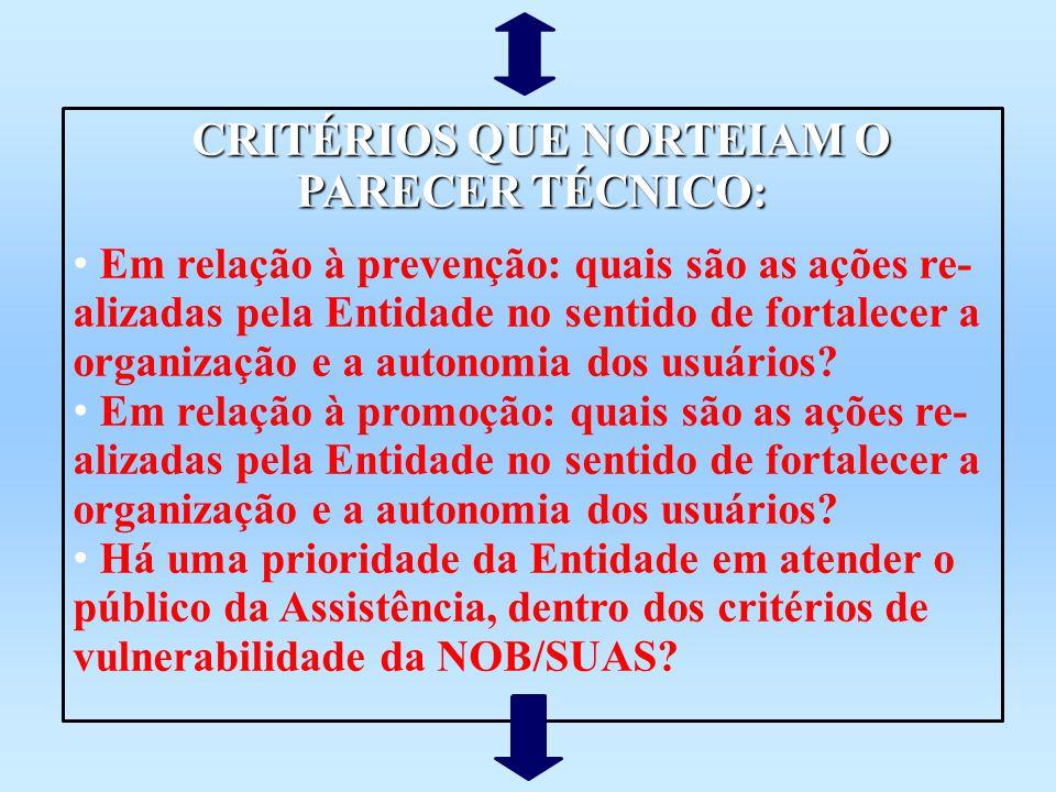 CRITÉRIOS QUE NORTEIAM O PARECER TÉCNICO: CRITÉRIOS QUE NORTEIAM O PARECER TÉCNICO: Em relação à prevenção: quais são as ações re- alizadas pela Entid