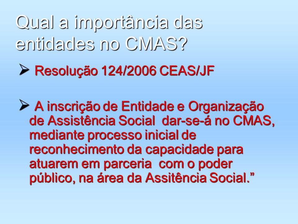 Qual a importância das entidades no CMAS? Resolução 124/2006 CEAS/JF Resolução 124/2006 CEAS/JF A inscrição de Entidade e Organização de Assistência S