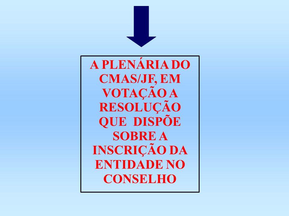 A PLENÁRIA DO CMAS/JF, EM VOTAÇÃO A RESOLUÇÃO QUE DISPÕE SOBRE A INSCRIÇÃO DA ENTIDADE NO CONSELHO