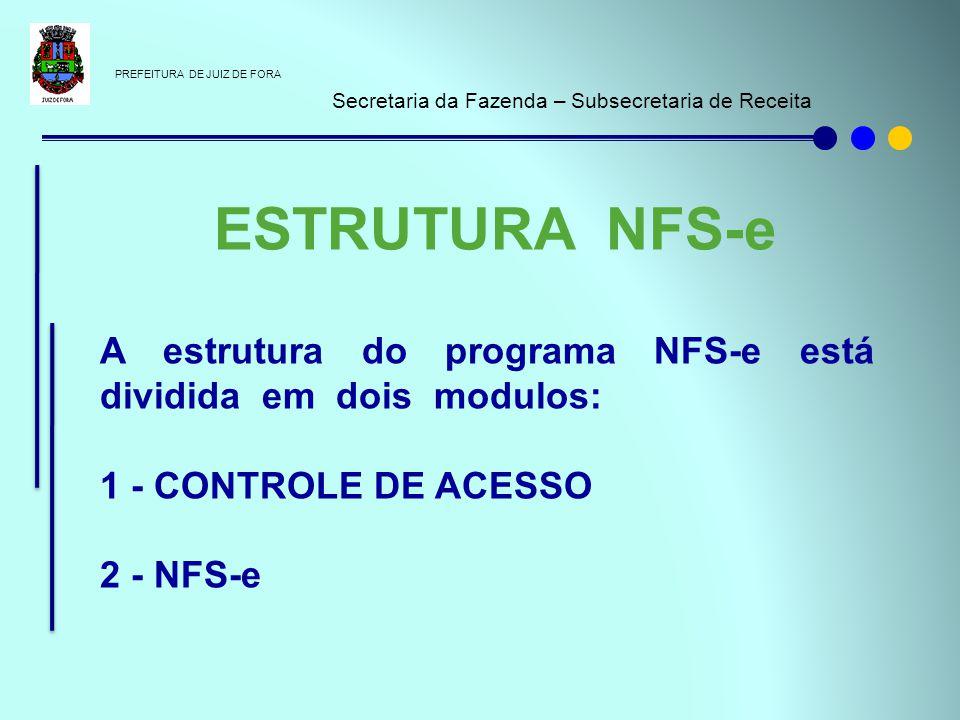 PREFEITURA DE JUIZ DE FORA Secretaria da Fazenda – Subsecretaria de Receita A estrutura do programa NFS-e está dividida em dois modulos: 1 - CONTROLE