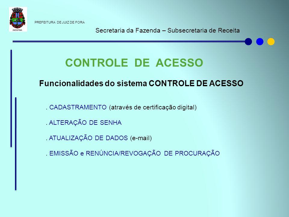 PREFEITURA DE JUIZ DE FORA Secretaria da Fazenda – Subsecretaria de Receita CONTROLE DE ACESSO Funcionalidades do sistema CONTROLE DE ACESSO. CADASTRA