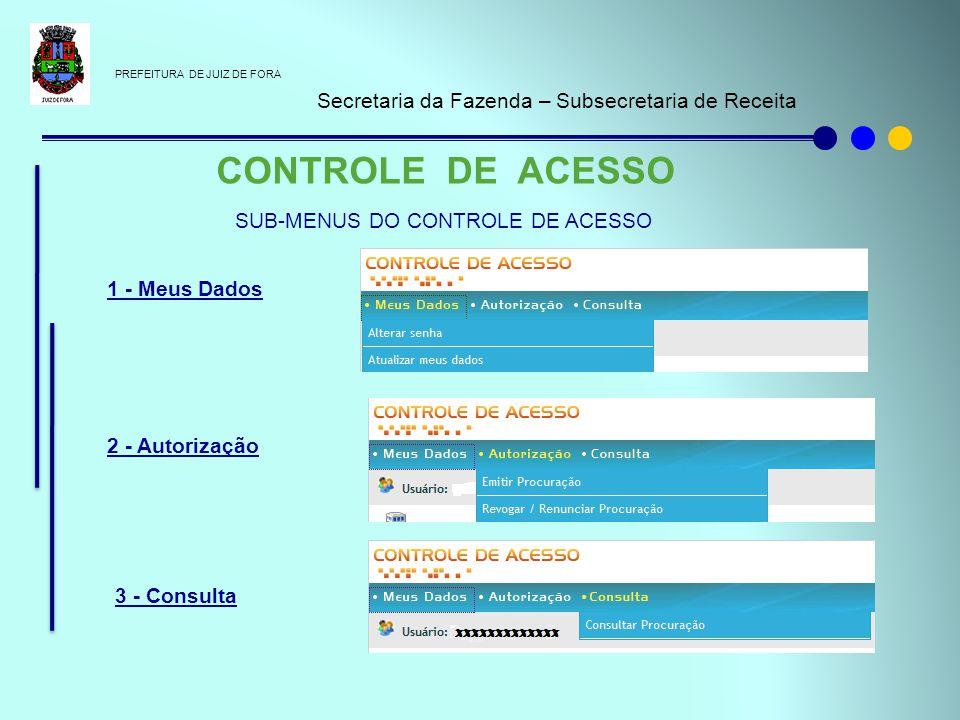 PREFEITURA DE JUIZ DE FORA Secretaria da Fazenda – Subsecretaria de Receita CONTROLE DE ACESSO 1 - Meus Dados 2 - Autorização 3 - Consulta SUB-MENUS D