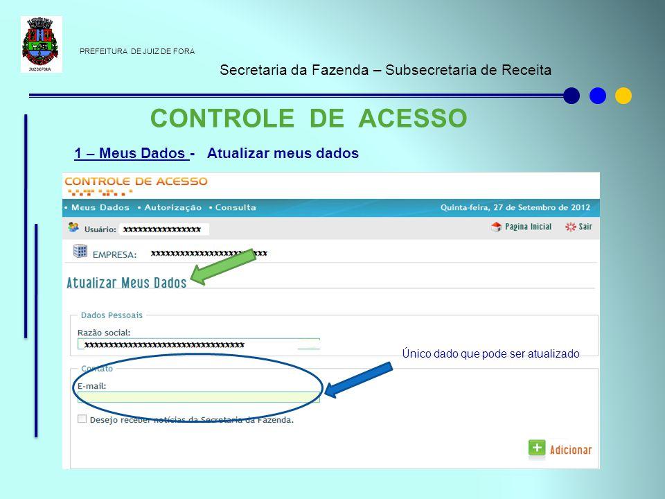 PREFEITURA DE JUIZ DE FORA Secretaria da Fazenda – Subsecretaria de Receita CONTROLE DE ACESSO 1 – Meus Dados - Atualizar meus dados Único dado que po