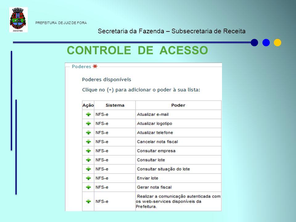 PREFEITURA DE JUIZ DE FORA Secretaria da Fazenda – Subsecretaria de Receita CONTROLE DE ACESSO