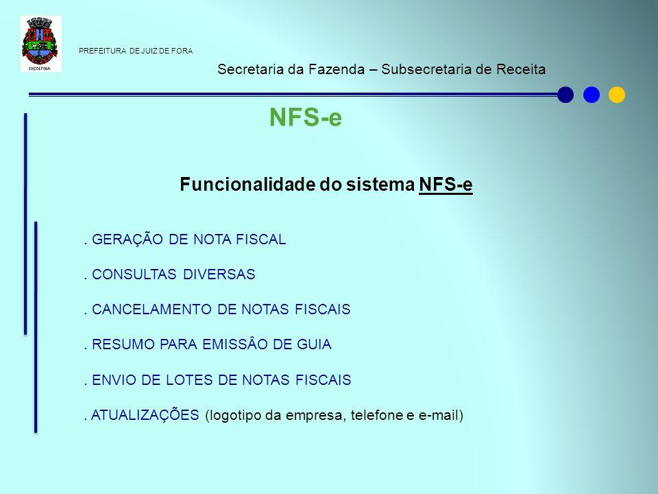 PREFEITURA DE JUIZ DE FORA Secretaria da Fazenda – Subsecretaria de Receita NFS-e Funcionalidade do sistema NFS-e. GERAÇÃO DE NOTA FISCAL. CONSULTAS D