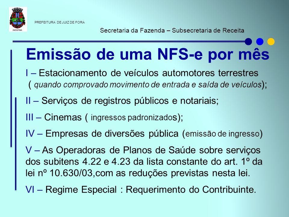 PREFEITURA DE JUIZ DE FORA Secretaria da Fazenda – Subsecretaria de Receita Prazo de validade indeterminado (A partir do empresas credenciadas a emitir NFS-e) Emissão em situações de contingência de indisponibilidade ou inacessibilidade dos serviços de geração da NFS-e.