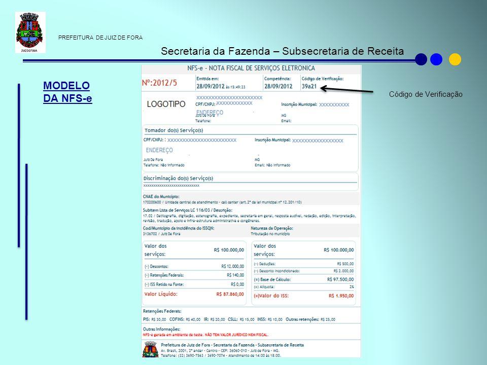 PREFEITURA DE JUIZ DE FORA Secretaria da Fazenda – Subsecretaria de Receita MODELO DA NFS-e Código de Verificação