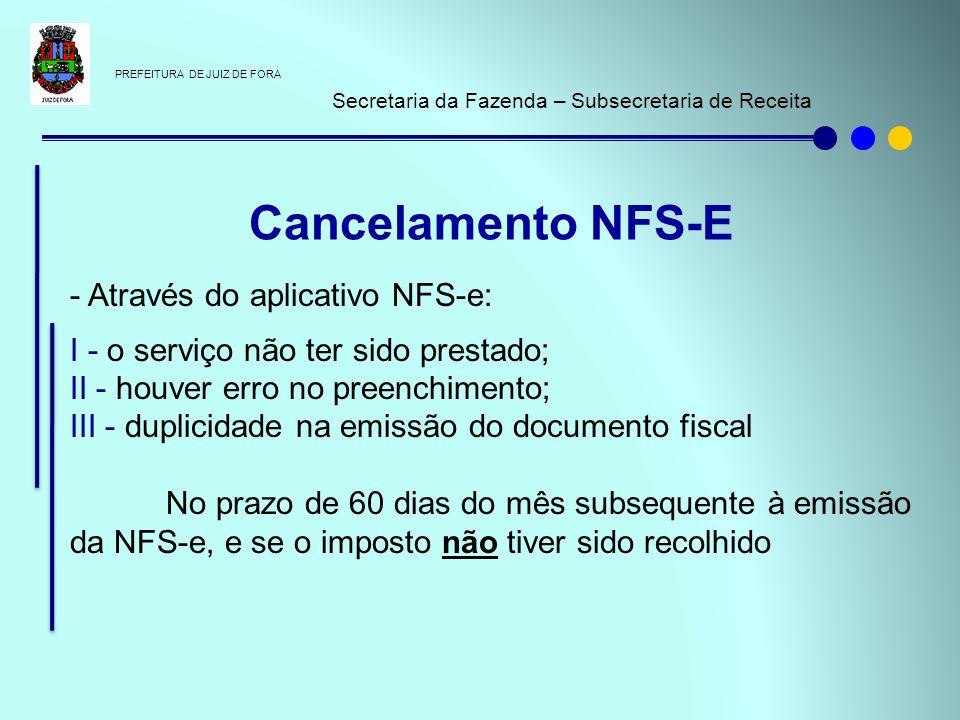 PREFEITURA DE JUIZ DE FORA Secretaria da Fazenda – Subsecretaria de Receita - Através do aplicativo NFS-e: I - o serviço não ter sido prestado; II - h