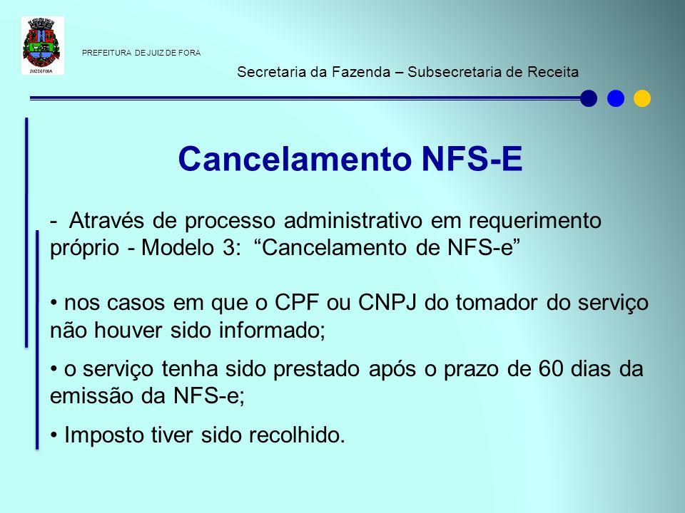 PREFEITURA DE JUIZ DE FORA Secretaria da Fazenda – Subsecretaria de Receita - Através de processo administrativo em requerimento próprio - Modelo 3: C