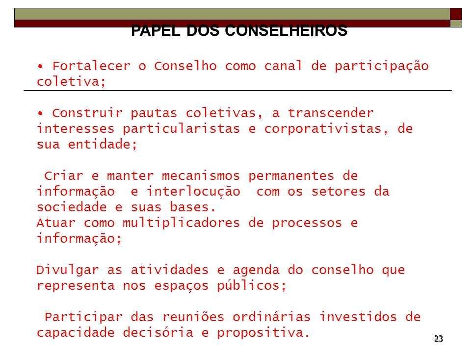 23 PAPEL DOS CONSELHEIROS Fortalecer o Conselho como canal de participação coletiva; Construir pautas coletivas, a transcender interesses particularis