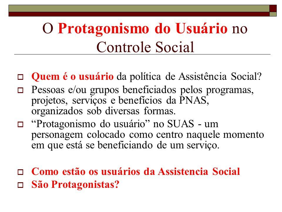 O Protagonismo do Usuário no Controle Social Quem é o usuário da política de Assistência Social? Pessoas e/ou grupos beneficiados pelos programas, pro