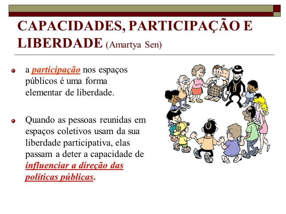 CAPACIDADES, PARTICIPAÇÃO E LIBERDADE (Amartya Sen) a participação nos espaços públicos é uma forma elementar de liberdade. Quando as pessoas reunidas