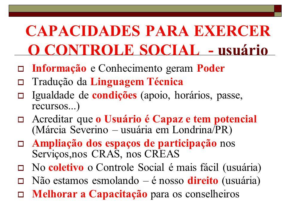 CAPACIDADES PARA EXERCER O CONTROLE SOCIAL - usuário Informação e Conhecimento geram Poder Tradução da Linguagem Técnica Igualdade de condições (apoio