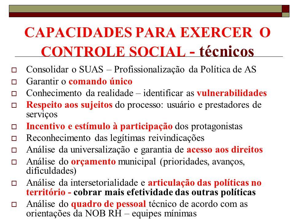 CAPACIDADES PARA EXERCER O CONTROLE SOCIAL - técnicos Consolidar o SUAS – Profissionalização da Política de AS Garantir o comando único Conhecimento d