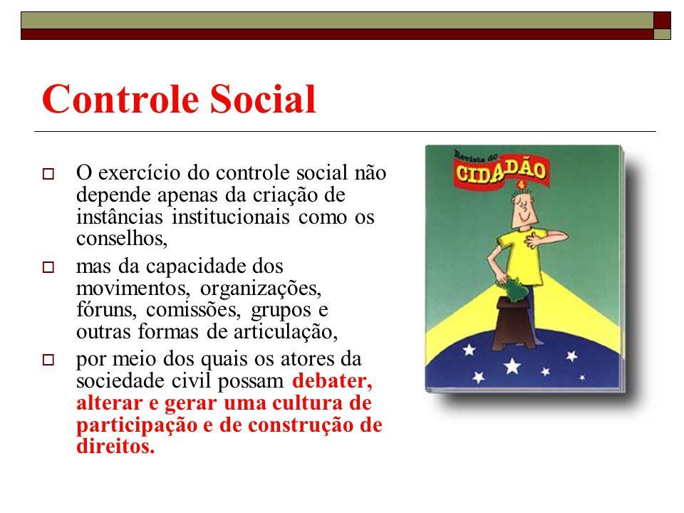 Controle Social O exercício do controle social não depende apenas da criação de instâncias institucionais como os conselhos, mas da capacidade dos mov