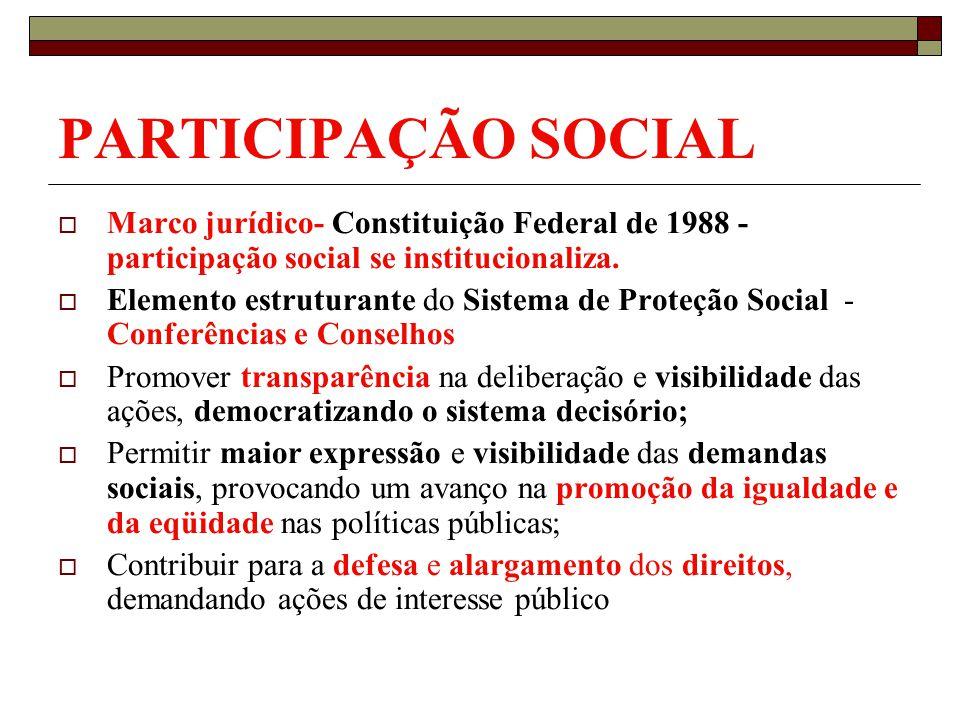 PARTICIPAÇÃO SOCIAL Marco jurídico- Constituição Federal de 1988 - participação social se institucionaliza. Elemento estruturante do Sistema de Proteç