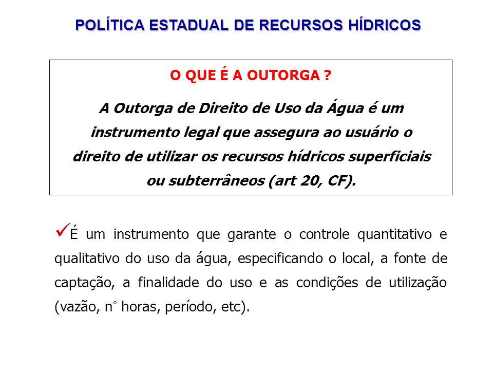 POLÍTICA ESTADUAL DE RECURSOS HÍDRICOS O QUE É A OUTORGA .