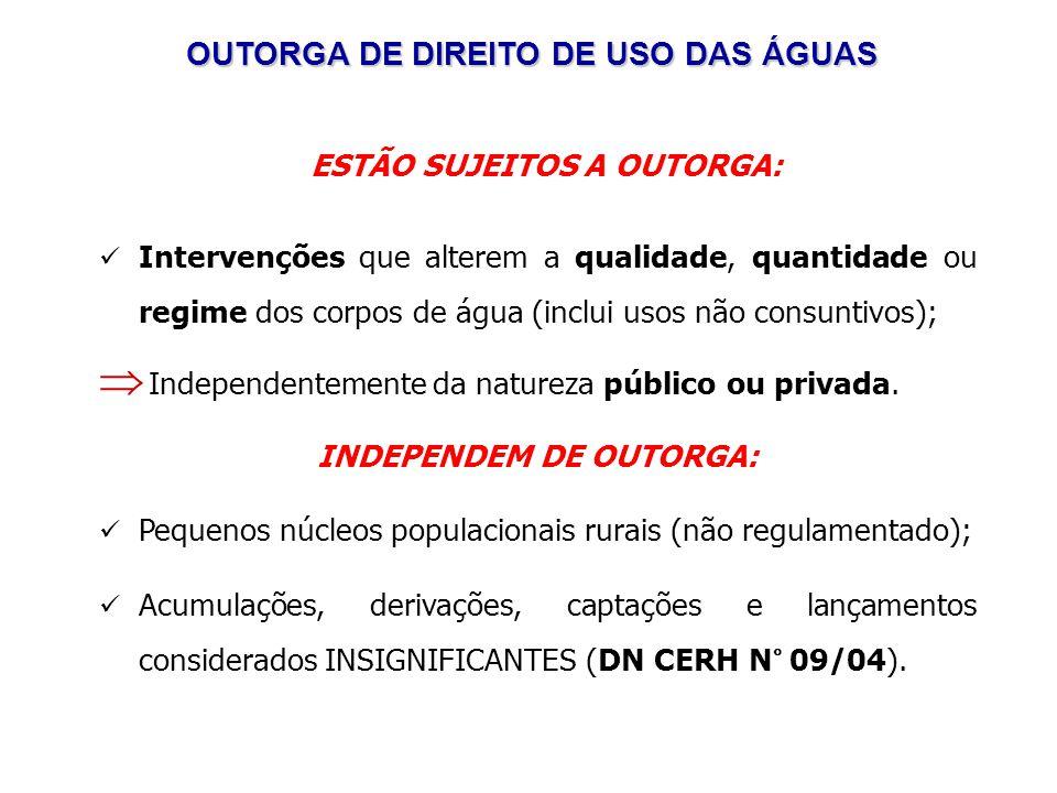 ESTÃO SUJEITOS A OUTORGA: Intervenções que alterem a qualidade, quantidade ou regime dos corpos de água (inclui usos não consuntivos); Independentemente da natureza público ou privada.