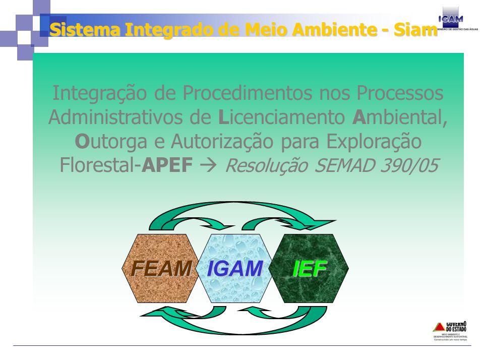 Integração de Procedimentos nos Processos Administrativos de Licenciamento Ambiental, Outorga e Autorização para Exploração Florestal-APEF Resolução SEMAD 390/05 FEAMIGAMIEF Sistema Integrado de Meio Ambiente - Siam