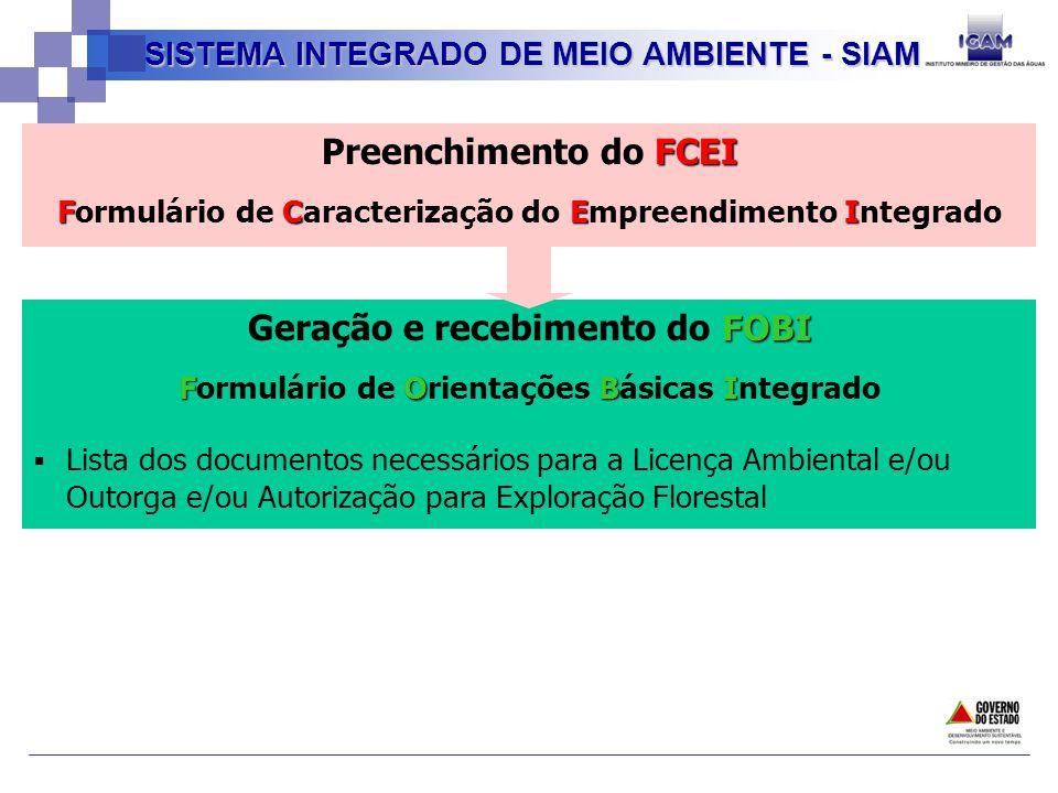 FCEI Preenchimento do FCEI FCEI Formulário de Caracterização do Empreendimento Integrado SISTEMA INTEGRADO DE MEIO AMBIENTE - SIAM FOBI Geração e recebimento do FOBI FOBI Formulário de Orientações Básicas Integrado Lista dos documentos necessários para a Licença Ambiental e/ou Outorga e/ou Autorização para Exploração Florestal