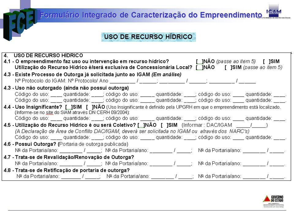USO DE RECURSO HÍDRICO Formulário Integrado de Caracterização do Empreendimento