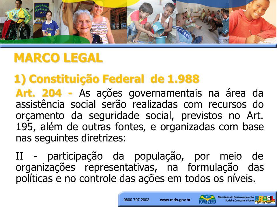 MARCO LEGAL 1) Constituição Federal de 1.988 Art. 204 - Art. 204 - As ações governamentais na área da assistência social serão realizadas com recursos