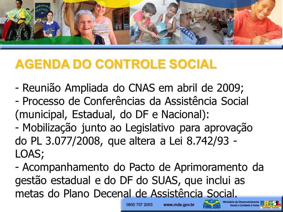 AGENDA DO CONTROLE SOCIAL - Reunião Ampliada do CNAS em abril de 2009; - Processo de Conferências da Assistência Social (municipal, Estadual, do DF e