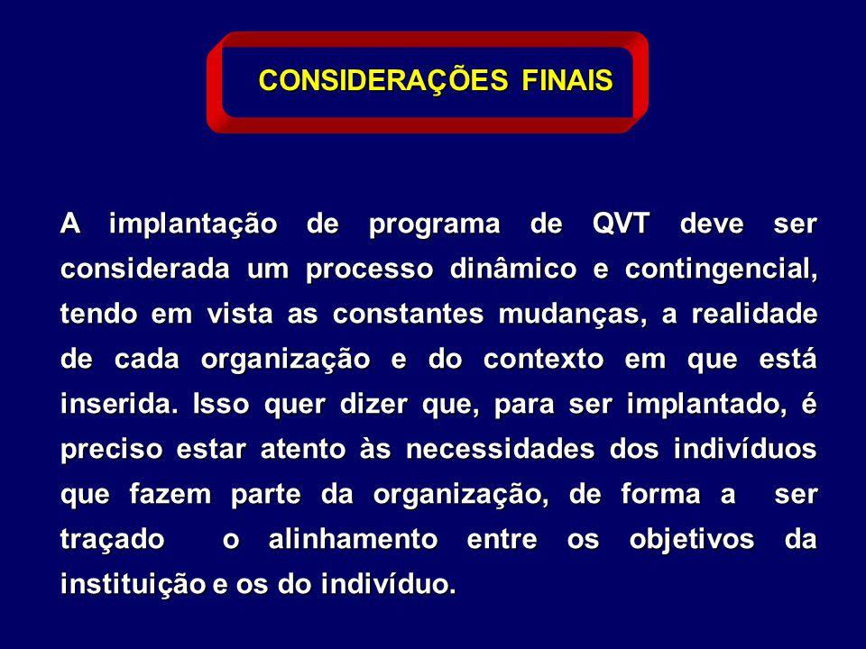 A implantação de programa de QVT deve ser considerada um processo dinâmico e contingencial, tendo em vista as constantes mudanças, a realidade de cada