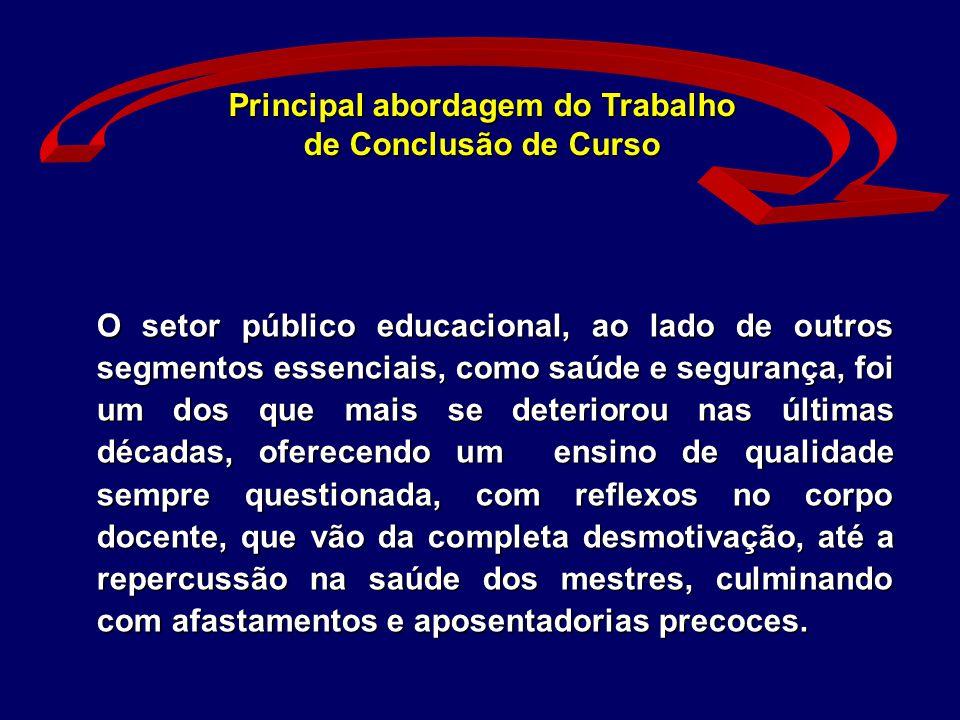 Principal abordagem do Trabalho de Conclusão de Curso O setor público educacional, ao lado de outros segmentos essenciais, como saúde e segurança, foi