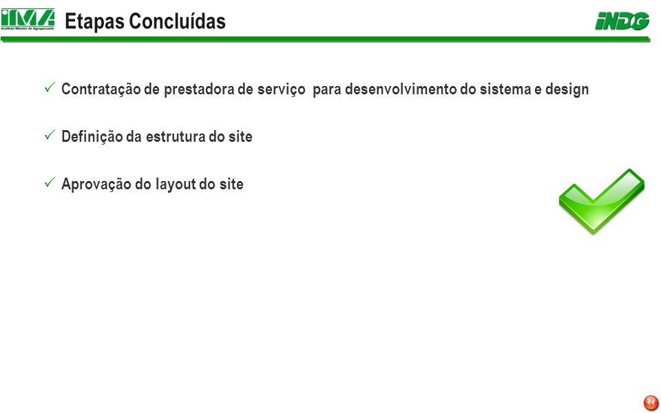 Etapas Concluídas Contratação de prestadora de serviço para desenvolvimento do sistema e design Definição da estrutura do site Aprovação do layout do site