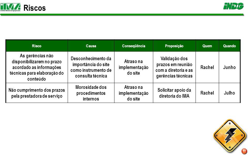 Próximos Passos Definição da rotina de manutenção do conteúdo e e-mail do site Lançamento do site