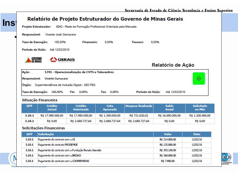 Status Report Instrumentos