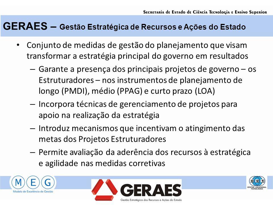 Conjunto de medidas de gestão do planejamento que visam transformar a estratégia principal do governo em resultados – Garante a presença dos principai
