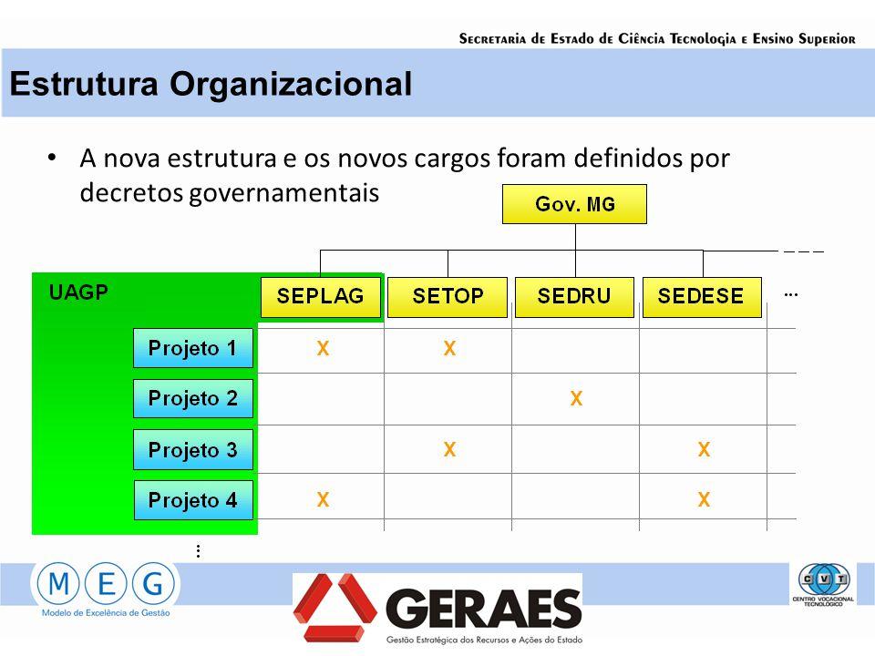 A nova estrutura e os novos cargos foram definidos por decretos governamentais Estrutura Organizacional