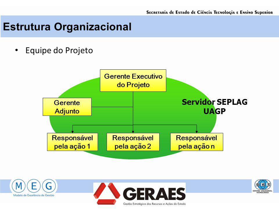 Equipe do Projeto Estrutura Organizacional Gerente Executivo do Projeto Gerente Adjunto Responsável pela ação 1 Responsável pela ação 2 Responsável pe