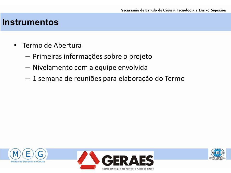 Termo de Abertura – Primeiras informações sobre o projeto – Nivelamento com a equipe envolvida – 1 semana de reuniões para elaboração do Termo Instrumentos