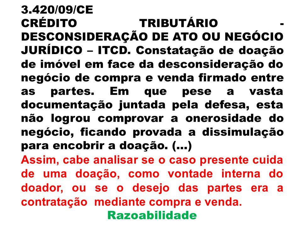 3.420/09/CE CRÉDITO TRIBUTÁRIO - DESCONSIDERAÇÃO DE ATO OU NEGÓCIO JURÍDICO – ITCD. Constatação de doação de imóvel em face da desconsideração do negó