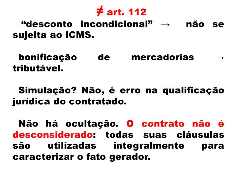 art. 112 desconto incondicional não se sujeita ao ICMS. bonificação de mercadorias tributável. Simulação? Não, é erro na qualificação jurídica do cont