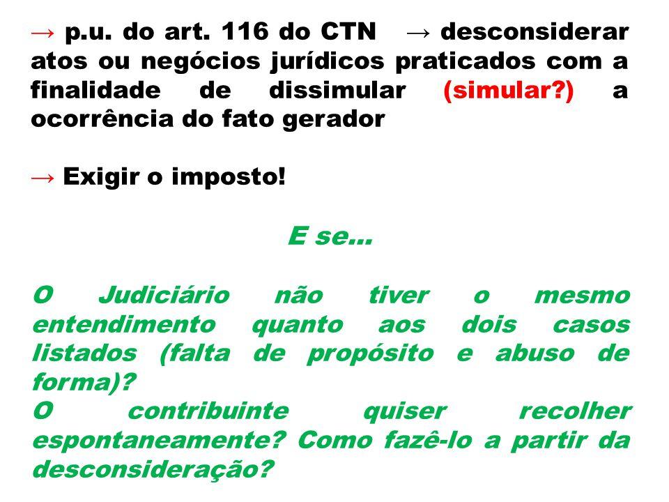 p.u. do art. 116 do CTN desconsiderar atos ou negócios jurídicos praticados com a finalidade de dissimular (simular?) a ocorrência do fato gerador Exi